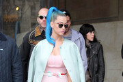 Singer Katy Perry arrives at the Miu Miu Fashion Show during Paris Fashion Week on March 7, 2012 in Paris, France.