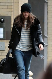 Keira Knightley tamed her unstyled hair under a knit beanie while out and about in New York City.
