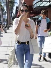 Kendall Jenner carried a stylish fringed shoulder bag while strolling in Beverly Hills.