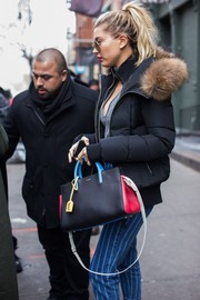 Hailey Baldwin showed off a fun and stylish color-block leather tote by Saint Laurent while out and about in New York City.