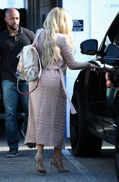 Khloe Kardashian was spotted outside a Van Nuys studio carrying a Chanel graffiti backpack.