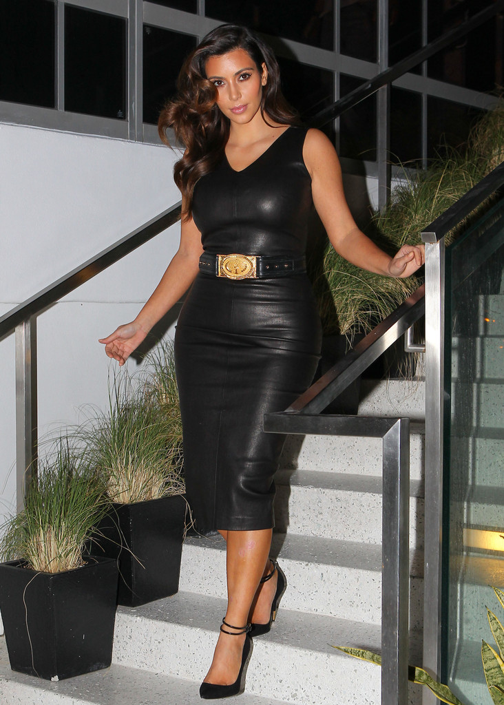 Kim Kardashian Leather Dress Kim Kardashian Looks