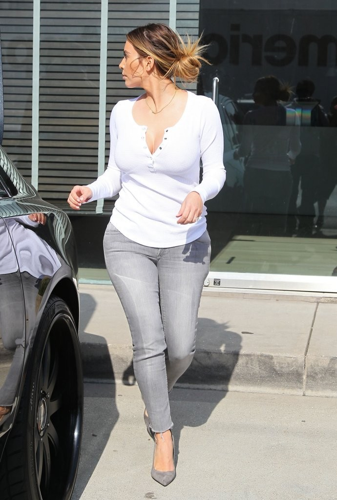 New parents Kim Kardashian & Kanye West take their daughter North shopping with them at Bulthaup in West Hollywood, California on January 23, 2014.