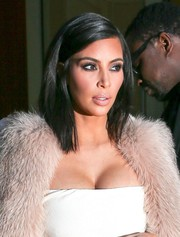 Kim Kardashian styled her freshly chopped hair into a neat bob for a night out in New York City.
