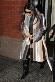 Kim Kardashian stepped out in style wearing a striped fur coat.