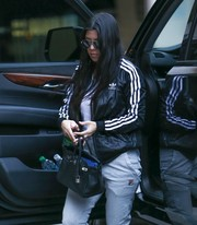 Kourtney Kardashian stepped out in Woodland Hills carrying a luxurious Hermes Birkin, in black.
