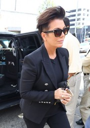Kris Jenner kept it subdued in a basic black blazer while filming her reality show.