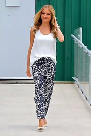 Kristin's billowing white blouse balanced out the bold print of her pant.