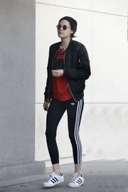 Kristen Stewart stayed comfy in a pair of Adidas leggings.