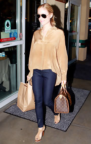 Kristin Cavallari accessorized her casual ensemble with cutout platform sandals.
