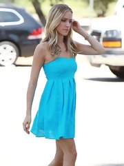 Kristin stepped out in a fun and flirty dress in a robin's egg blue with tiny white polka dot details.