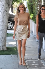 Kristin Cavallari put her gorgeous legs on display in a nude mini skirt while out in West Hollywood.