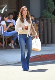 Kyle Richards headed out in Los Angeles wearing a dotted white button-down.