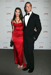 Elizabeth Chambers wore a red corset gown for the LACMA Art and Film Gala.