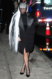 Lady Gaga arrived for her concert at the Roseland Ballroom wearing a black Balenciaga puffer coat with extra-wide satin lapels.
