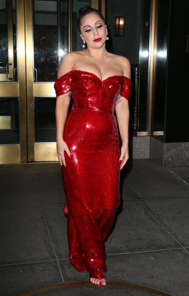 Lady Gaga Off-the-Shoulder Dress [fashion model,clothing,dress,latex clothing,shoulder,red,fashion,haute couture,lady,cocktail dress,dress,cocktail dress,lady gaga,record producer,howard stern,senior,fashion,headlines,model,new york city,lady gaga,dress,fashion,celebrity,model,off the shoulder gown,cocktail dress,fashion show,evening gown,gown]