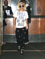Lady Gaga pulled her edgy look together with a pair of black combat boots by Rag & Bone.