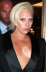 Lady Gaga headed out in New York City wearing a punky updo.