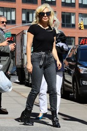 Lady Gaga rocked the high-waist look with these dark wash jeans while out in New York City.