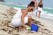 La La Vazquez wore her hair up in a loose bun while spending time on the beach in Miami, Florida.