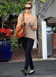 Lauren Conrad switched out her standard skinny jeans for a dark leather-coated version.