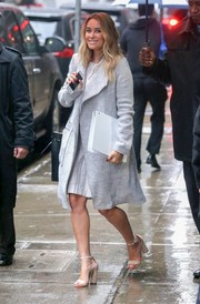Lauren Conrad left the 'Good Morning America' studio wearing a stylish gray wool coat.