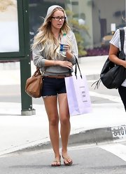 Lauren wore beachy leather flats while shopping in West Hollywood.
