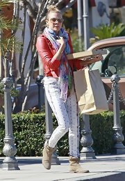 LeAnn Rimes showed her funky side with a pair of white and neon snake-print jeans.