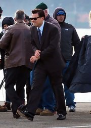 Leonardo DiCaprio looked sharp in a brown suit while filming 'The Wolf of Wall Street.'