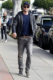 Liam Hemsworth kept warm in Santa Monica wearing this light 'Space Hoodie.'