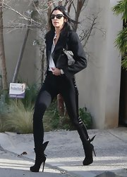 Liberty Ross looked fierce leaving her Hollywood home in these ultra skinny striped pants.