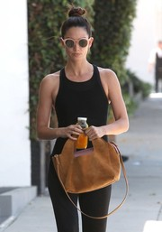 Lily Aldridge stepped out in West Hollywood carrying a stylish camel-colored suede tote by The Row.