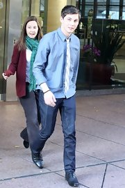 Logan Lerman opted for a casual look with a pair of blue jeans and a chambray shirt while promoting his new film in Vancouver.