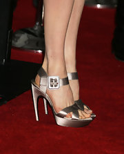Rachel Weisz shimmered in sating in these silver strappy sandals.