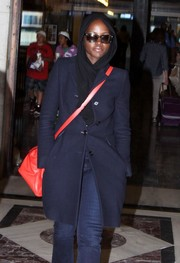 Lupita Nyong'o tried to go incognito at Union Station with a black head scarf and a pair of sunnies.