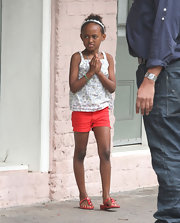 Zahara Jolie-Pitt kept cool in these tomato red shorts!
