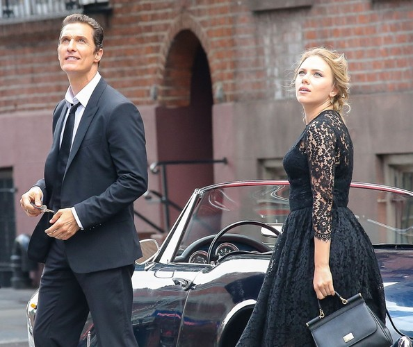 Actors Matthew McConaughey and Scarlett Johansson filming a commercial for Dolce & Gabbana that is directed by Martin Scorsese in New York City, New York on July 13, 2013.