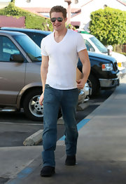 Matthew Morrison channeled James Dean in timeless fitted white t-shirt.