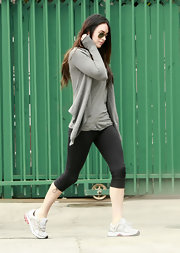 While out in Studio City, Megan Fox wears a cuddly gray cashmere cardigan.