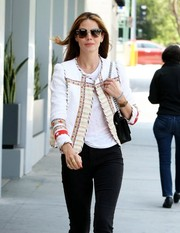 Michelle Monaghan kept the sun out in style with a pair of tortoiseshell wayfarers while out and about in Beverly Hills.