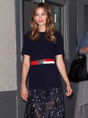 Michelle Monaghan spiced up her plain blue top with a red, white, and black belt for a day out in New York City.