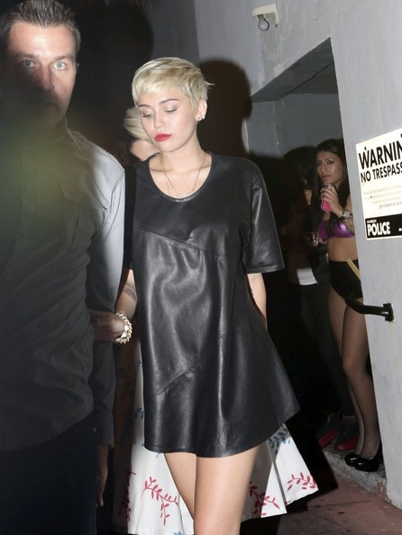 Miley Cyrus Leather Dress