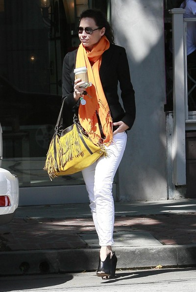 Minnie Driver Tasseled Shoulder Bag