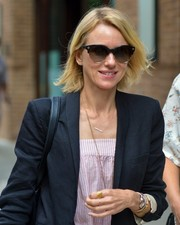 Naomi Watts shielded her eyes with a chic pair of cateye sunglasses while out in New York City.