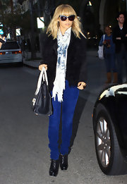 Nicole Richie was true blue in a pair of bright cobalt cords.