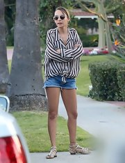 Nicole Richie added some sparkle to her outfit with a pair of studded gladiator sandals.