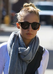 Nicole Richie left the gym wearing her hair twisted up into a casual top knot.