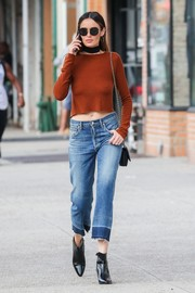 Nicole Trunfio was spotted out in New York City wearing a cropped rust-colored sweater.