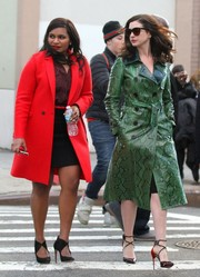 Mindy Kaling cut a bright figure in her red coat while filming 'Ocean's 8.'