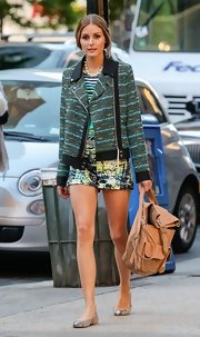 Olivia's printed shorts added another touch of texture to her colorful street style.
